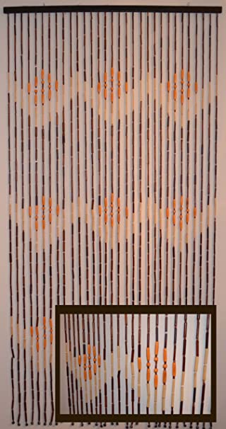 Amazon.com: Natural Bamboo & Wood Beaded Curtain, W Pattern ...
