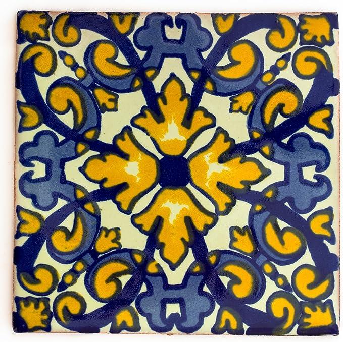 Azulejos Mexicanos Artesanales de Talavera de 10.5cm Pack de 10