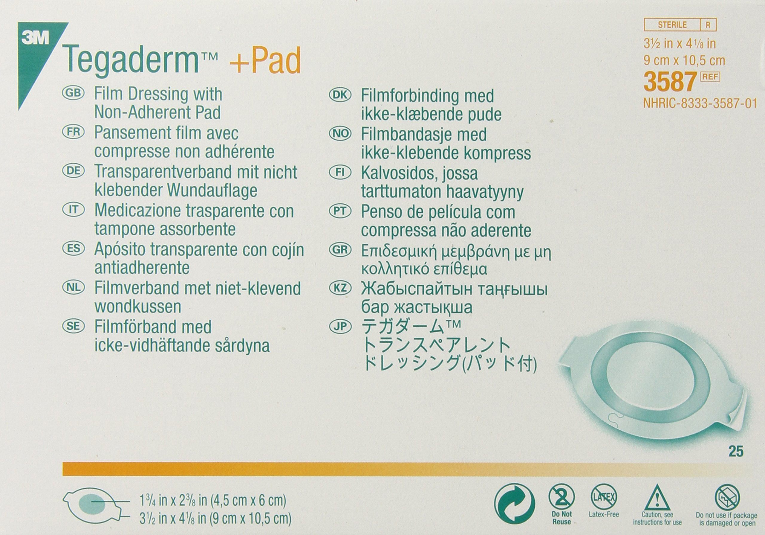 3M Tegaderm +Pad Film Dressing with Non-Adherent Pad 3587 (Pack of 100)
