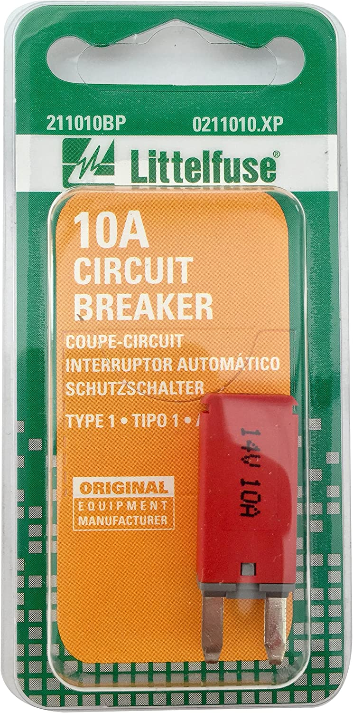 Littelfuse 0211010.XP 10 Amp Mini Type I Circuit Breaker