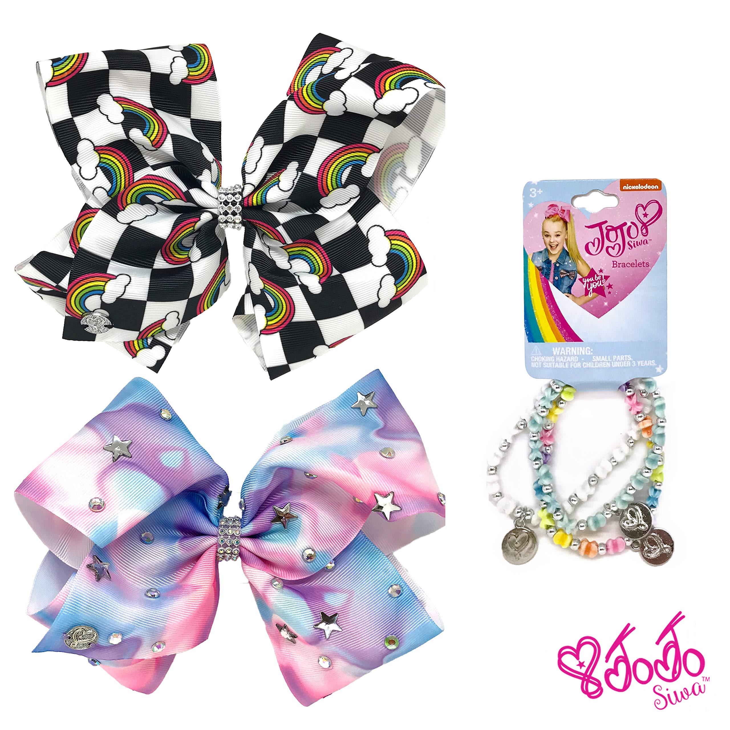 Jojo Siwa Girl's Bow Set 2 Bows and 3 Pack of Bracelets - Checker box with Rainbows, Tye Dye with Stars