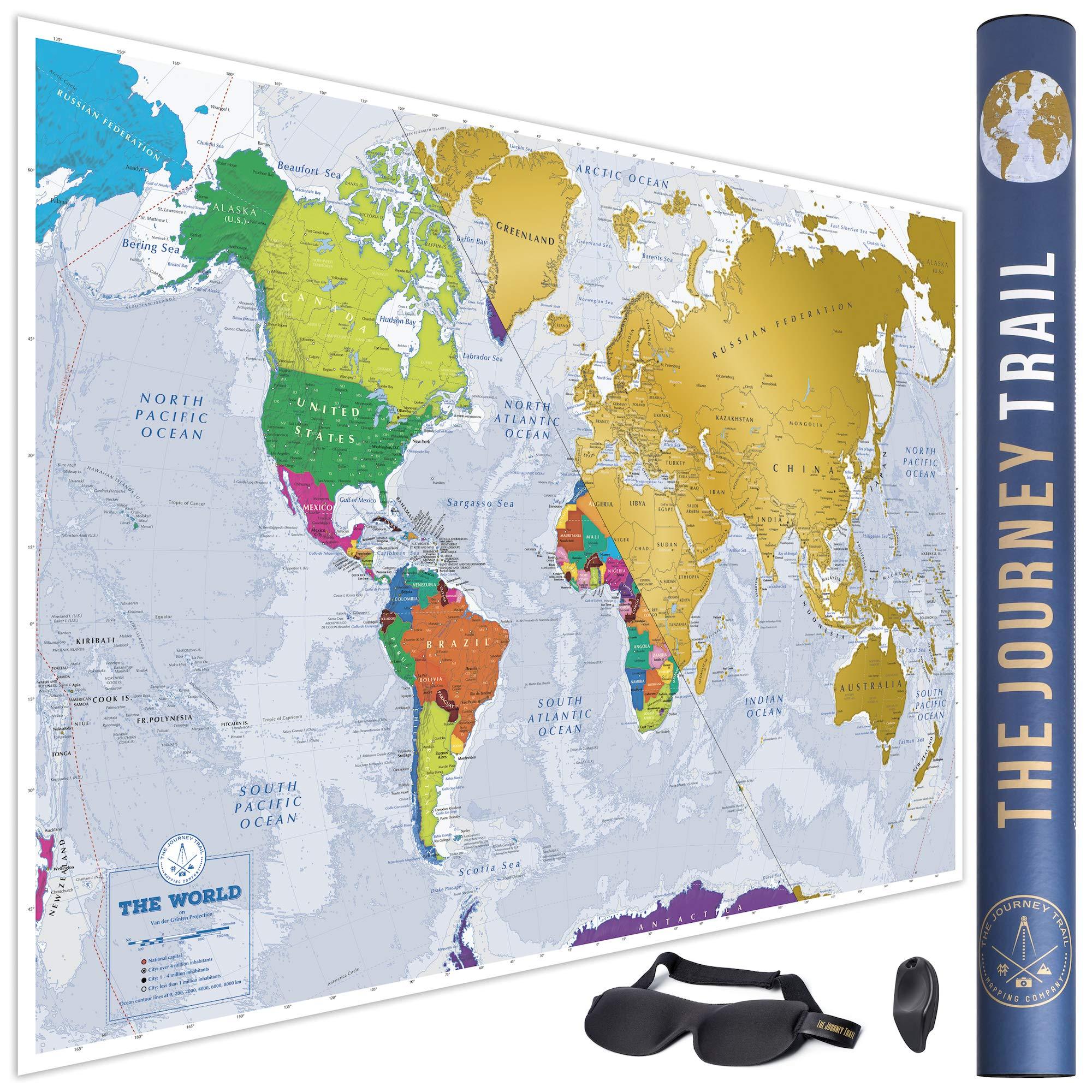 Mapa Mundi para Rascar más grande (84x59cm) y con más destinos - Póster de