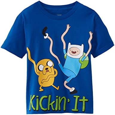 Adventure Time Big Boys Adventure Time Kicking It T-Shirt, Royal Blue,