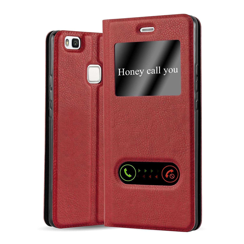 Cadorabo Funda Libro para Huawei P9 Lite en Rojo AZRAFÁN