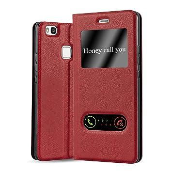 Cadorabo Funda Libro para Huawei P9 Lite en Rojo AZRAFÁN - Cubierta Proteccíon con Cierre Magnético, Función de Suporte y 2 Ventanas- View Case Cover ...