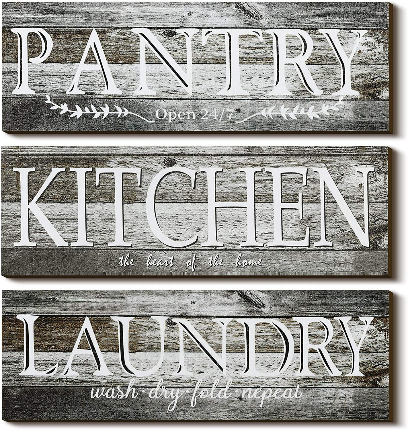 3 Pieces Home Rustic Wood Wall Sign, Kitchen Laundry ,Pantry