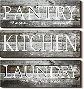 3 Pieces Home Rustic Wood Wall Sign, Kitchen the Heart of the Home, Laundry Wash Dry Fold Repeat, Pantry Open 24/7, Room Decor Home Vintage Wooden Decoration 13.78 x 5.12 Inch, Rustic Wood Decoration