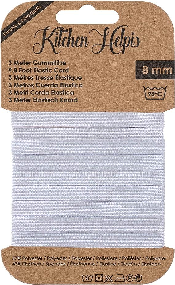 negro 10 mm de ancho Cinta elástica blanco gummilitze