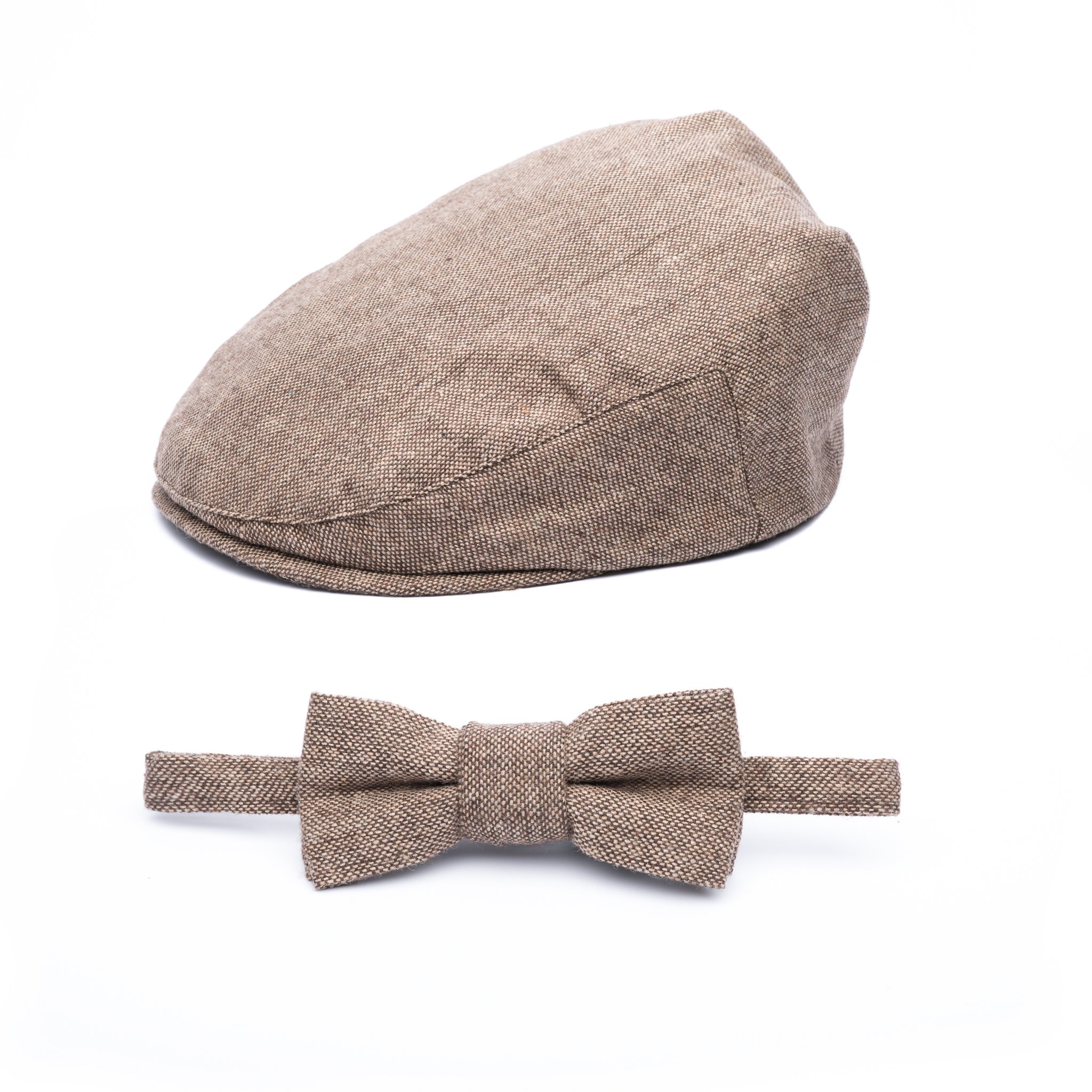 Born to Love - Baby Boy's Hat Vintage Driver Caps (XL 56cm (6-8 yrs), tan with Bow)