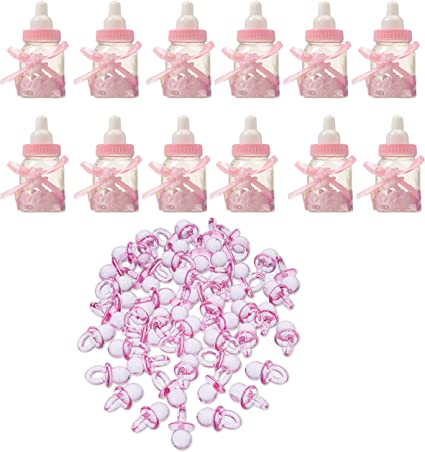 12 Fillable Heart Girl Baby Shower Candy Bottle Boxes Christening Favor Gifts