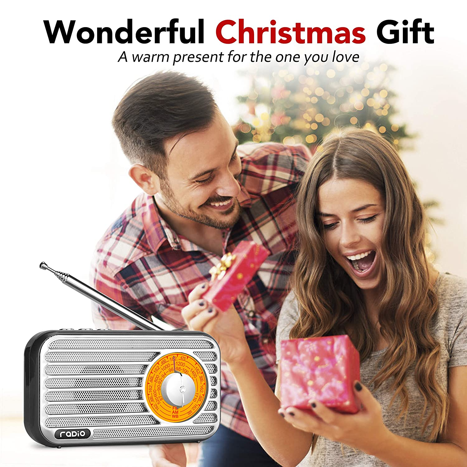 Black Headphone Jack Retro Bluetooth Speaker Kitchen Office Portable AM FM Weather Radio USB//TF//AUX Player Rechargeable Battery Vintage Radio with Best Reception Loud Volume for Home