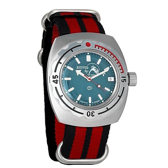 Vostok Amphibian - Reloj de pulsera automático para hombre con correa de buceo militar y anfibia