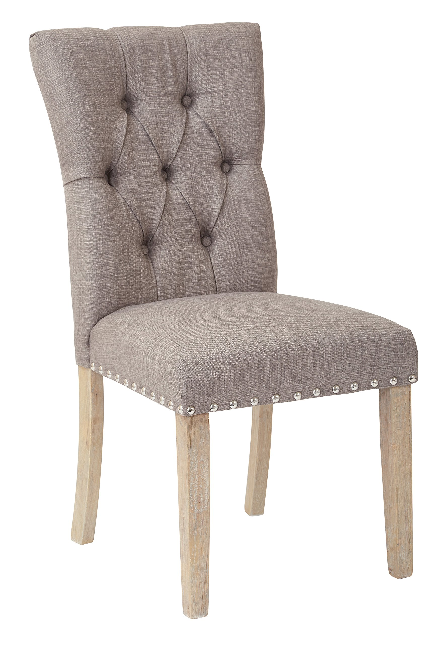 Inspired by Bassett Preston Fabric Seat and Tufted Back Dining Chair with Brushed Rustic Wood Legs and Nailhead Accents, Marlow Dolphin