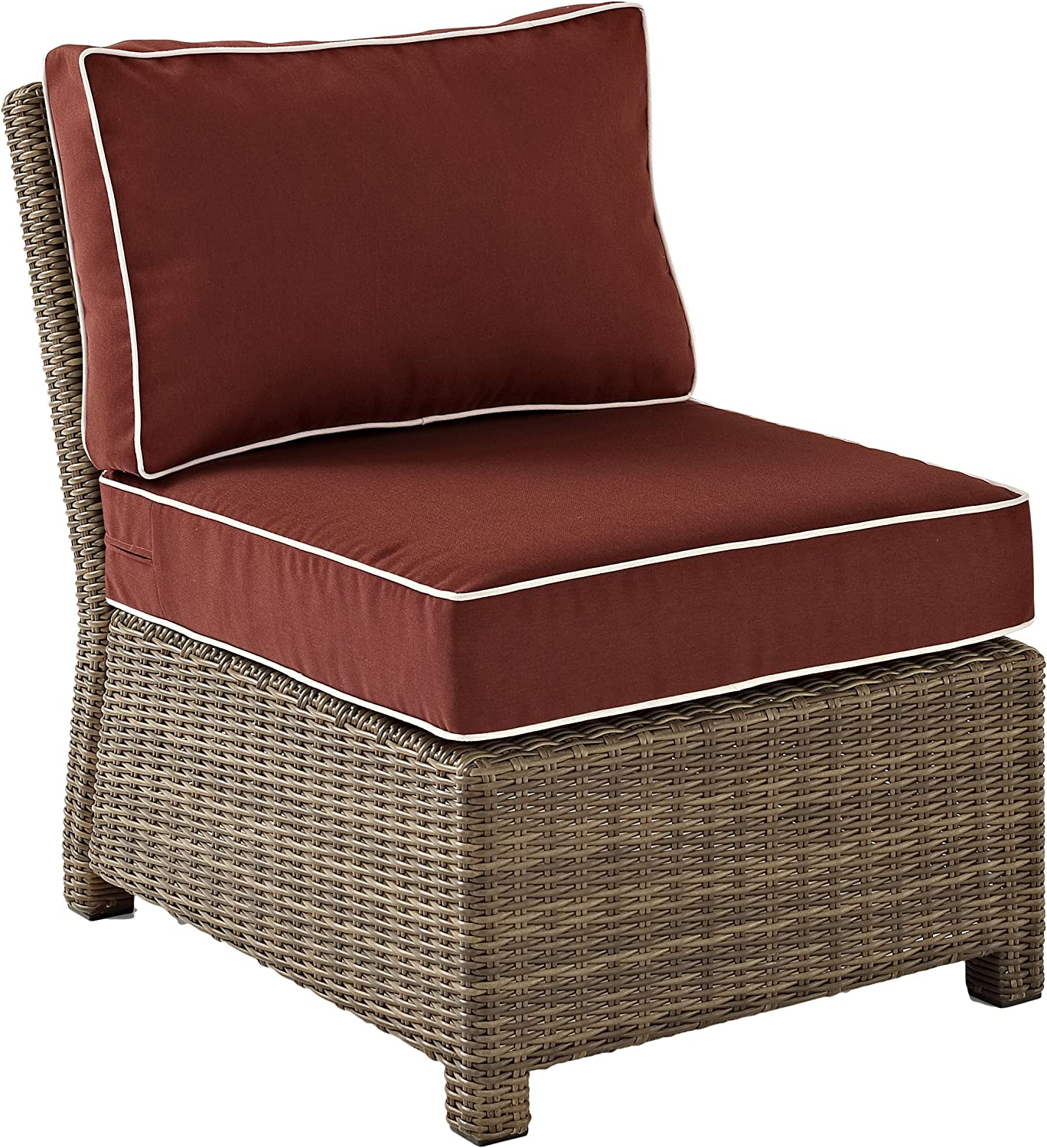 Crosley Furniture KO70017WB-SG Bradenton Outdoor Wicker Sectional Center Chair, Brown with Sangria Cushions