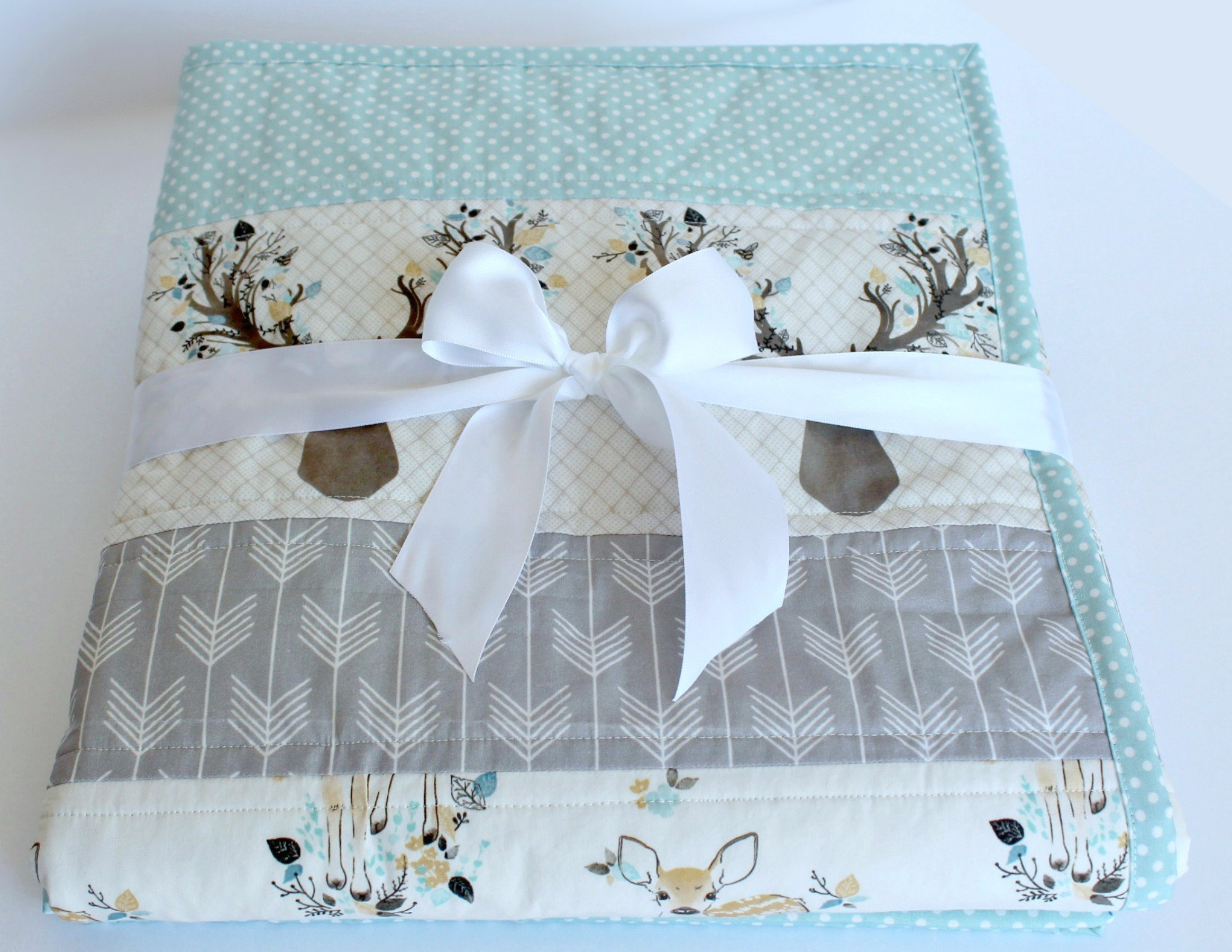 Handmade Blue & Gray Baby Quilt with Fawn, Deer, & Arrows.