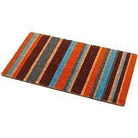 Addis Stripe Door Mat 100% Natural Coir Pile with colour Stripe Design - 70 x 40 cm, Multi