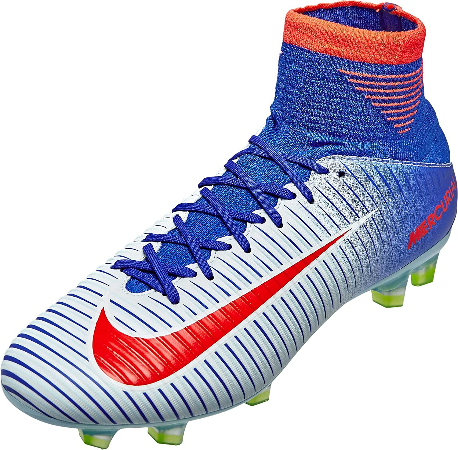 Nike Womens Mercurial Veloce III FG Soccer Cleats - (White/Racer Blue) Size: 10