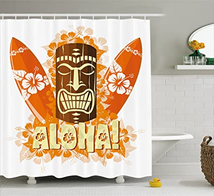 Ambesonne Tiki Bar Decor Shower Curtain, Hibiscus Flora Burst Orange  Surfboards Aloha Tropical Summer,