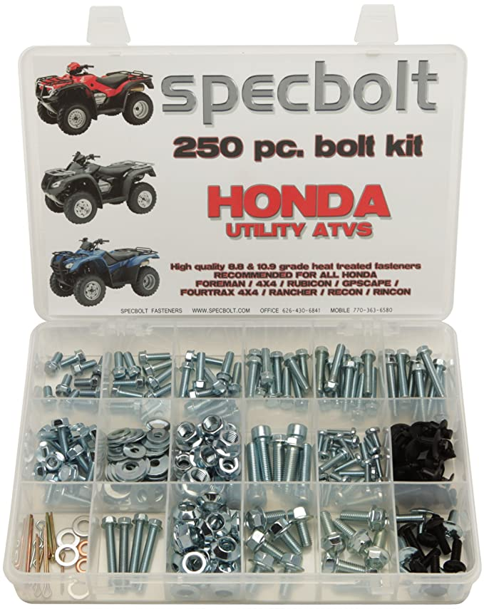 250pc Specbolt Fasteners Brand Bolt Kit for Maintenance & Restoration Quad  Foreman 4x4 Rubicon GPScape Four Trax 4x4 Rancher Recon Rincon