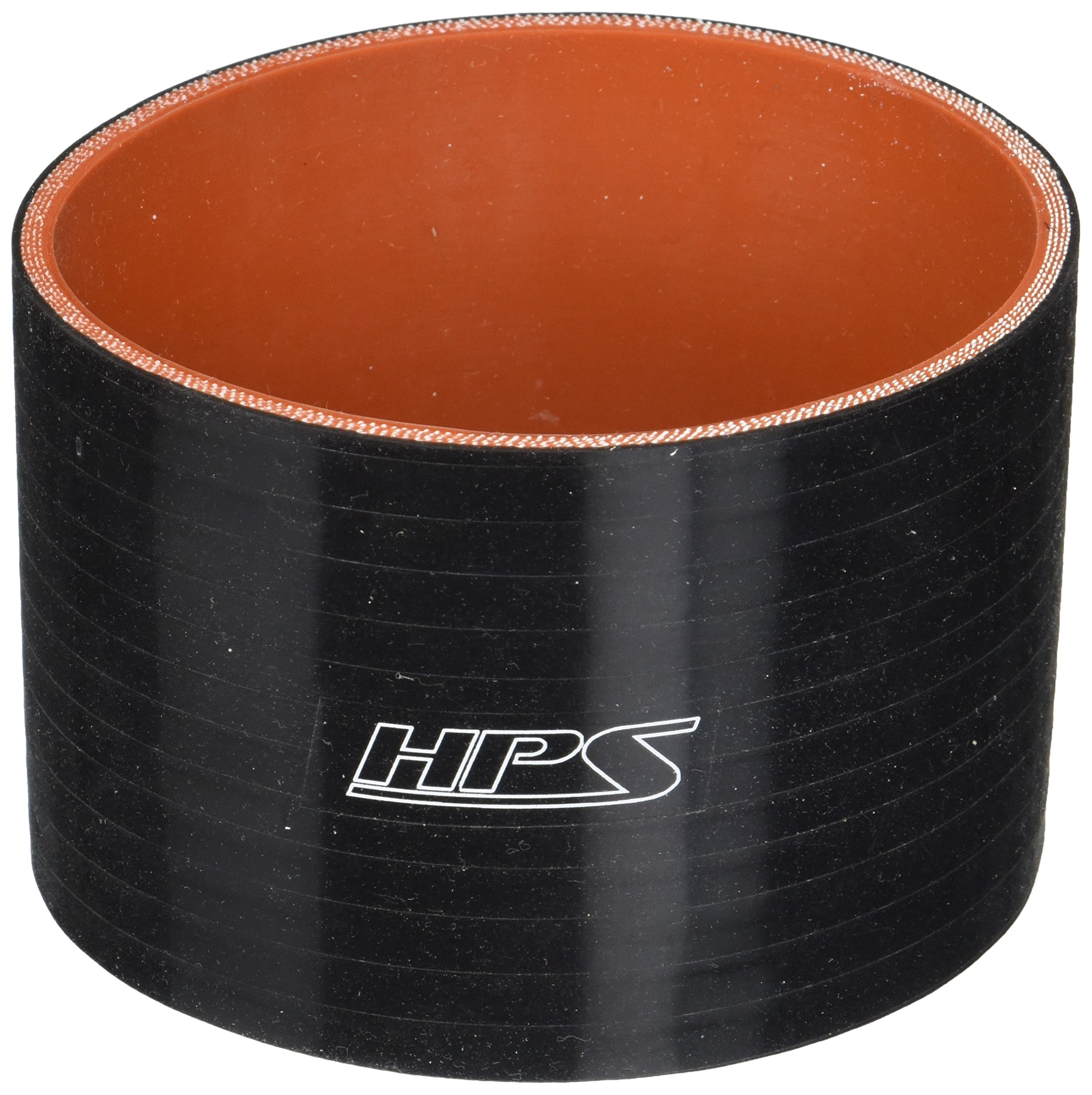 HPS HTSC-425-BLK Silicone High Temperature 4-Ply Reinforced Straight Coupler Hose, 65 PSI Maximum Pressure, 3'' Length, 4.25'' ID, Black by HPS (Image #1)