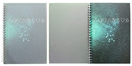 Miliko Zodiac Series Dot Grid A5 Size Wirebound/Spiral Notebook Set-2  Notebooks per Pack, 160 Pages(80 Sheets),Transparent Hardcover (Aquarius)