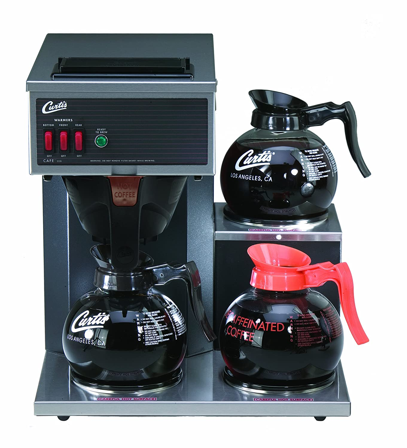 Wilbur Curtis Commercial Pourover Coffee Brewer 64 Oz Coffee Brewer, 3 Station, 2 Lower, 1 Upper Warmer - Coffee Maker with Fast-Brewing System - CAFE3DB10A000 (Each)