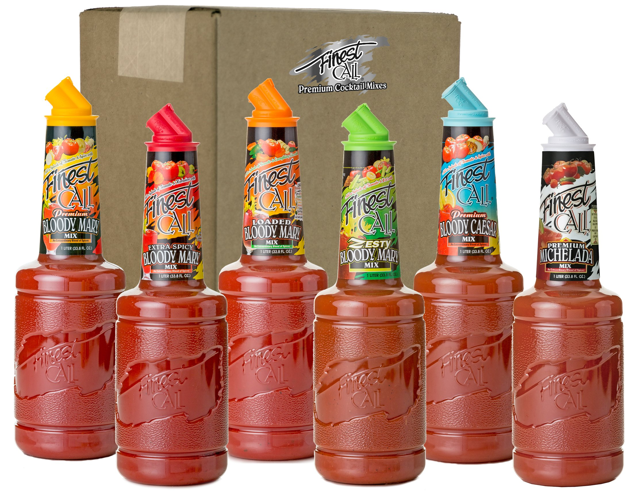 Finest Call Premium Bloody Mary Variety Pack, 1 Liter Bottles (33.8 Fl Oz), Pack of 6 Flavors