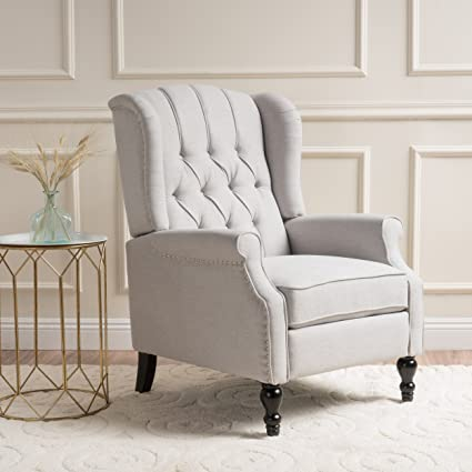 Superieur Elizabeth Light Beige Tufted Fabric Arm Chair Recliner