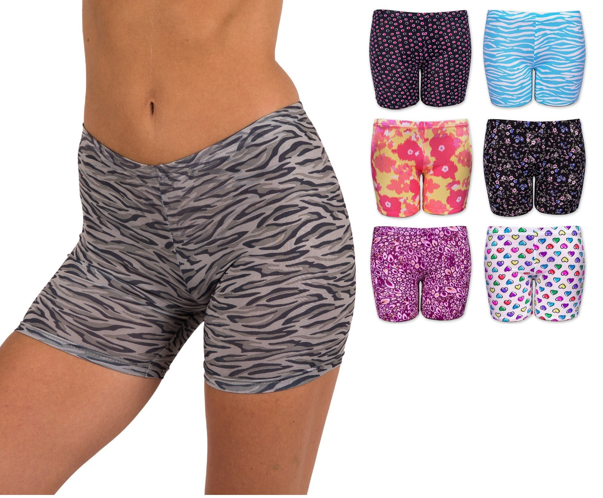 Sexy Basics Women's 6 Pack Micro Fiber Spandex Mini Yoga Bike Active Undershort (2XL/9, 6 Pair - Silky Smooth Assorted Prints)