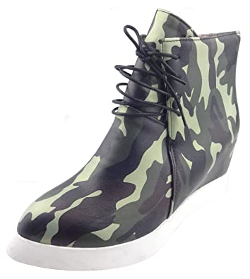 Women's Trendy Camouflage Print High Top Lace-up Heighten Inside Sneakers Platform Ankle Boots