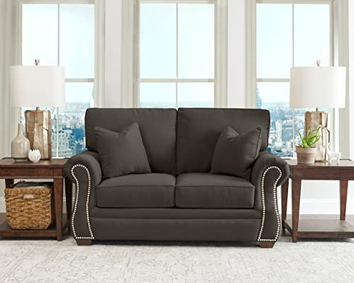 Klaussner Home Furnishings Jensen Loveseat with 2 Throw Pillows, 40 L x 67 W x 31 H, Pewter
