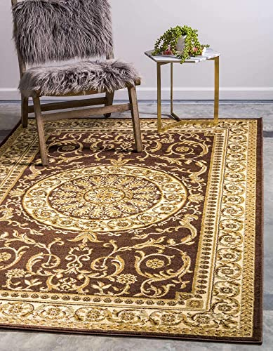 Unique Loom Versailles Collection Traditional Classic Brown Area Rug 10' 6 x 16' 5
