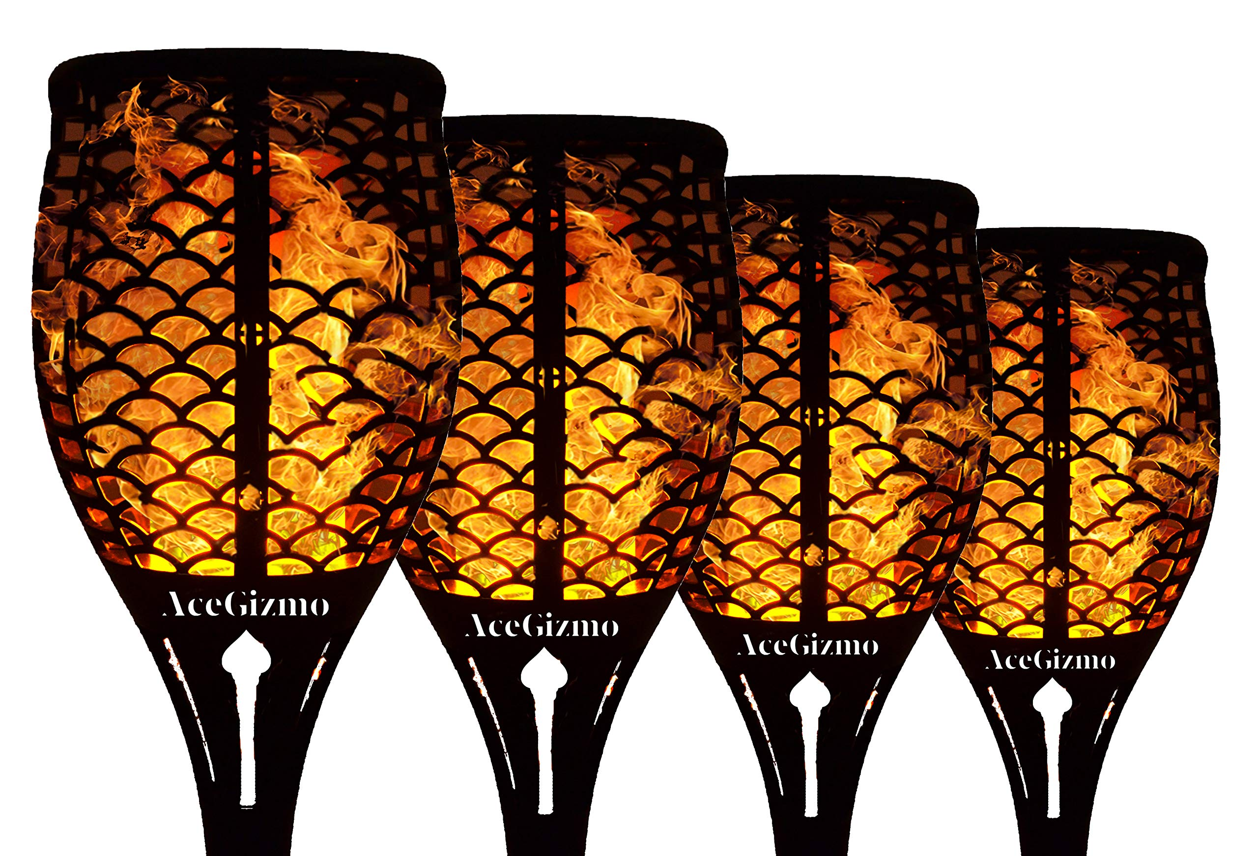 AceGizmo Solar Torch Lights [Upgraded]- 4 Pack. Waterproof Flickering Flame Torches Dancing Flames Landscape Decoration Lighting Dusk to Dawn Outdoor Path Light for Garden Patio Deck Yard Driveway