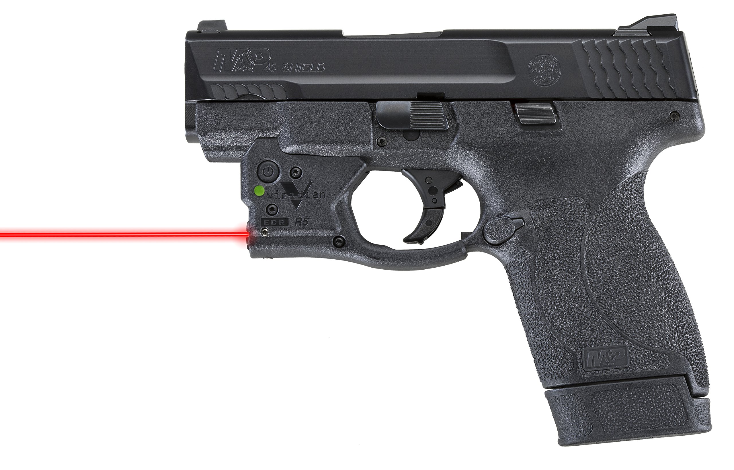 VIRIDIAN WEAPON TECHNOLOGIES, Reactor 5 Gen II Red Laser, Smith & SWesson M&P Shield .45 with ECR Instant On Holster, Black by VIRIDIAN WEAPON TECHNOLOGIES