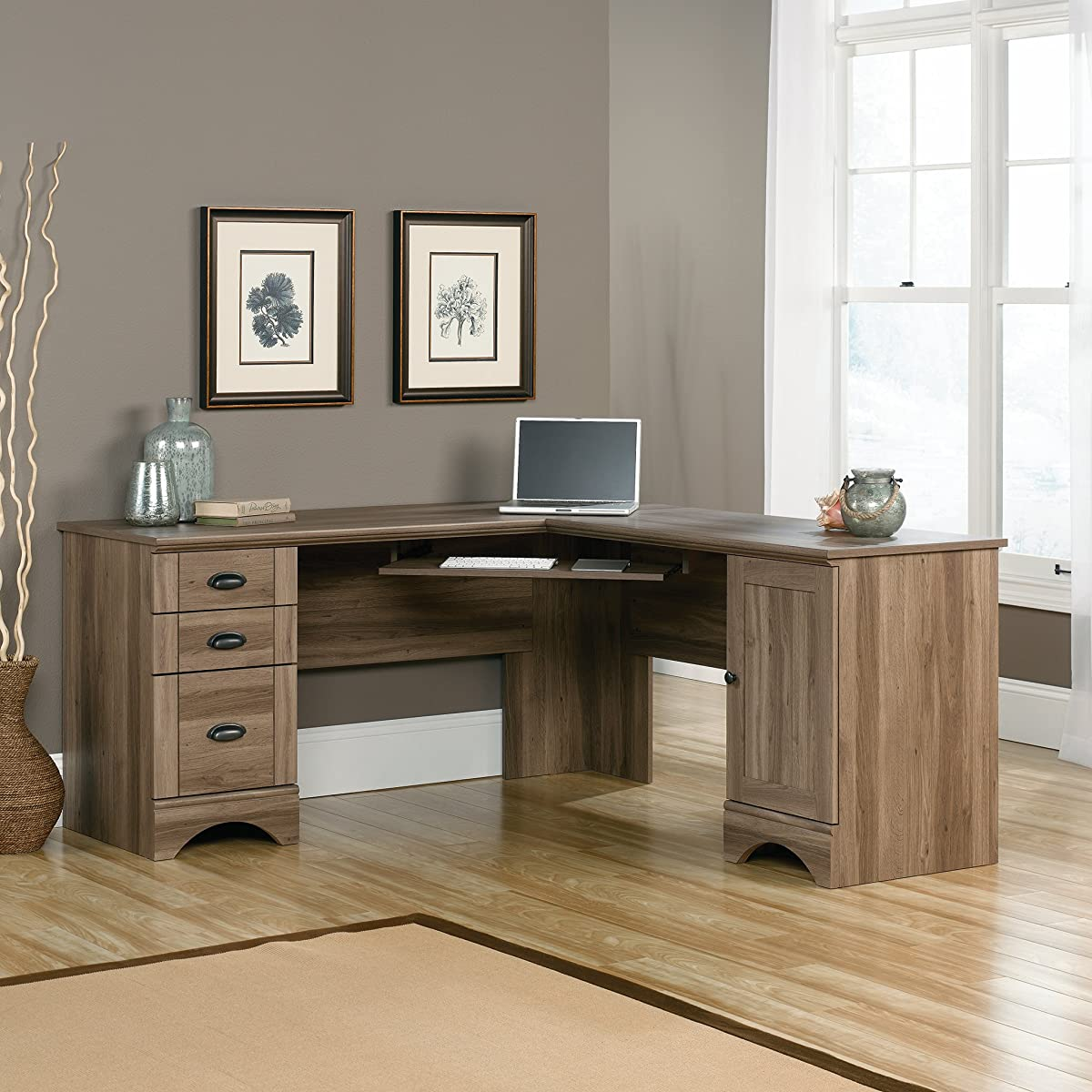 Sauder 417586 Harbor View Corner Computer Desk A2, Salt Oak