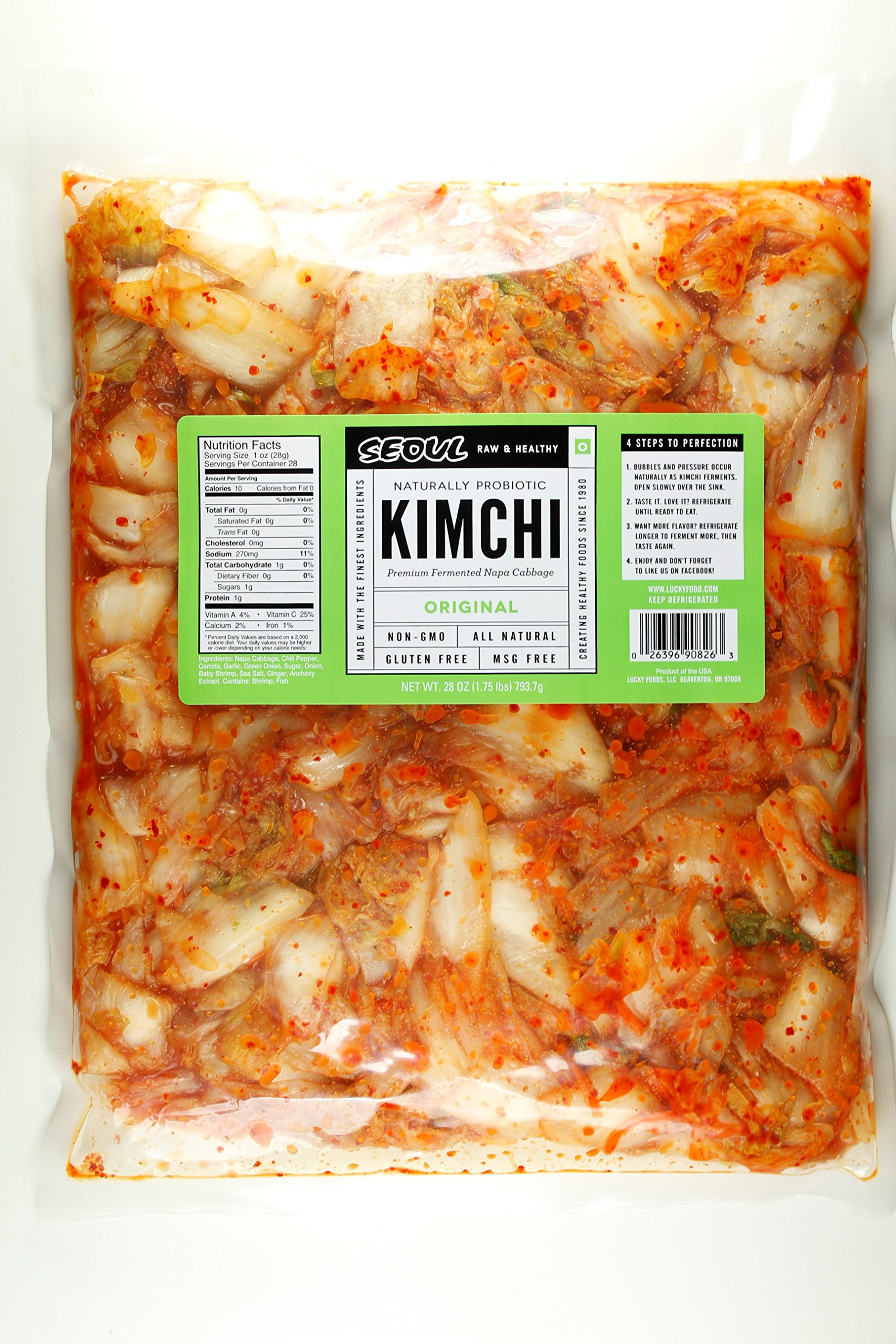 Seoul Kimchi Original 28oz (1.75LB) Fresh & Healthy All Natural Gluten Free MADE UPON ORDER by Lucky Foods LLC