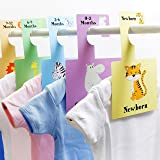 Baby Wardrobe Dividers - Safari Animals | Pack of 7 Hangers | Organise Baby's Clothes (safari)