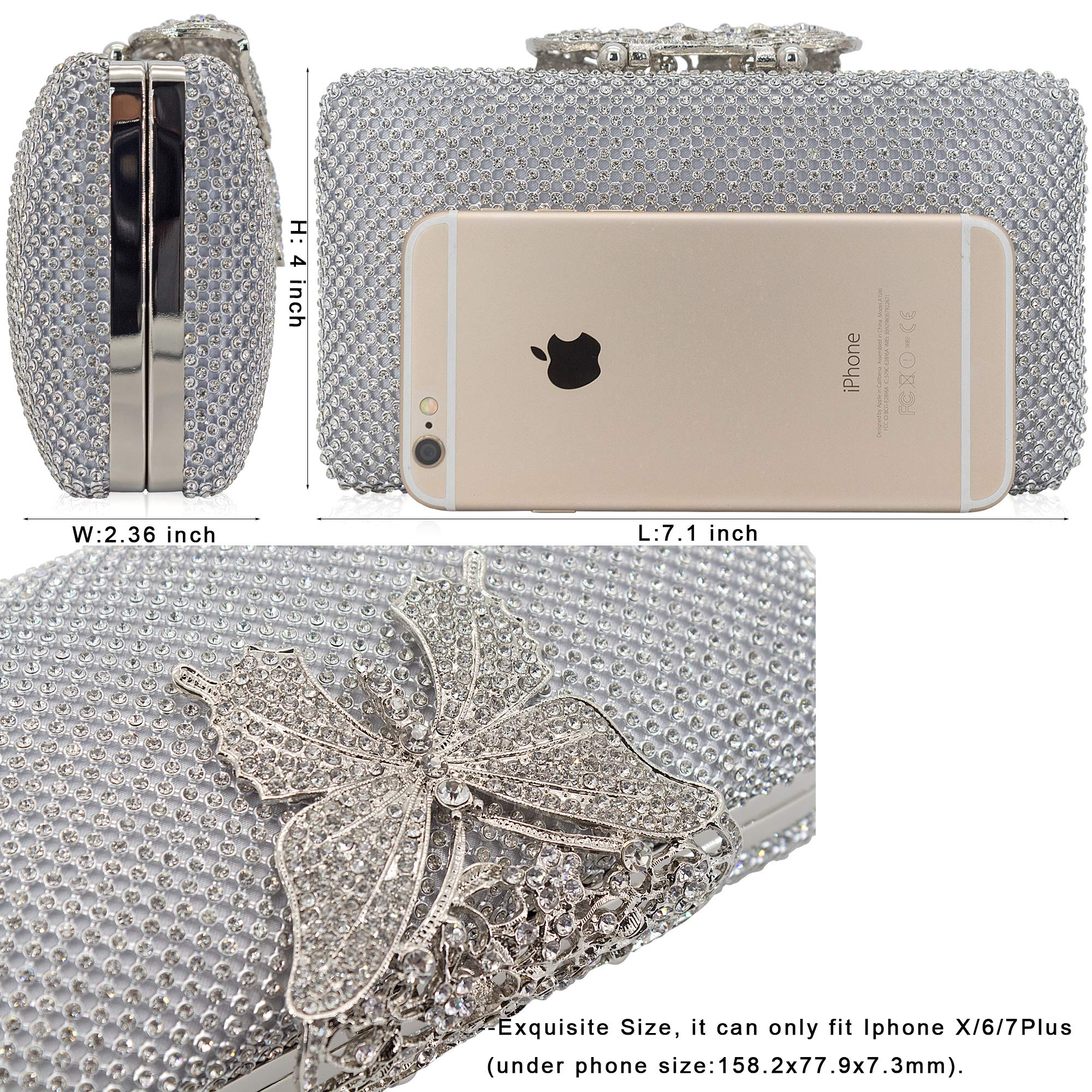 Dexmay Rhinestone Crystal Clutch Purse Butterfly Clasp Women Evening Bag for Formal Party Silver by DEXMAY DM (Image #4)