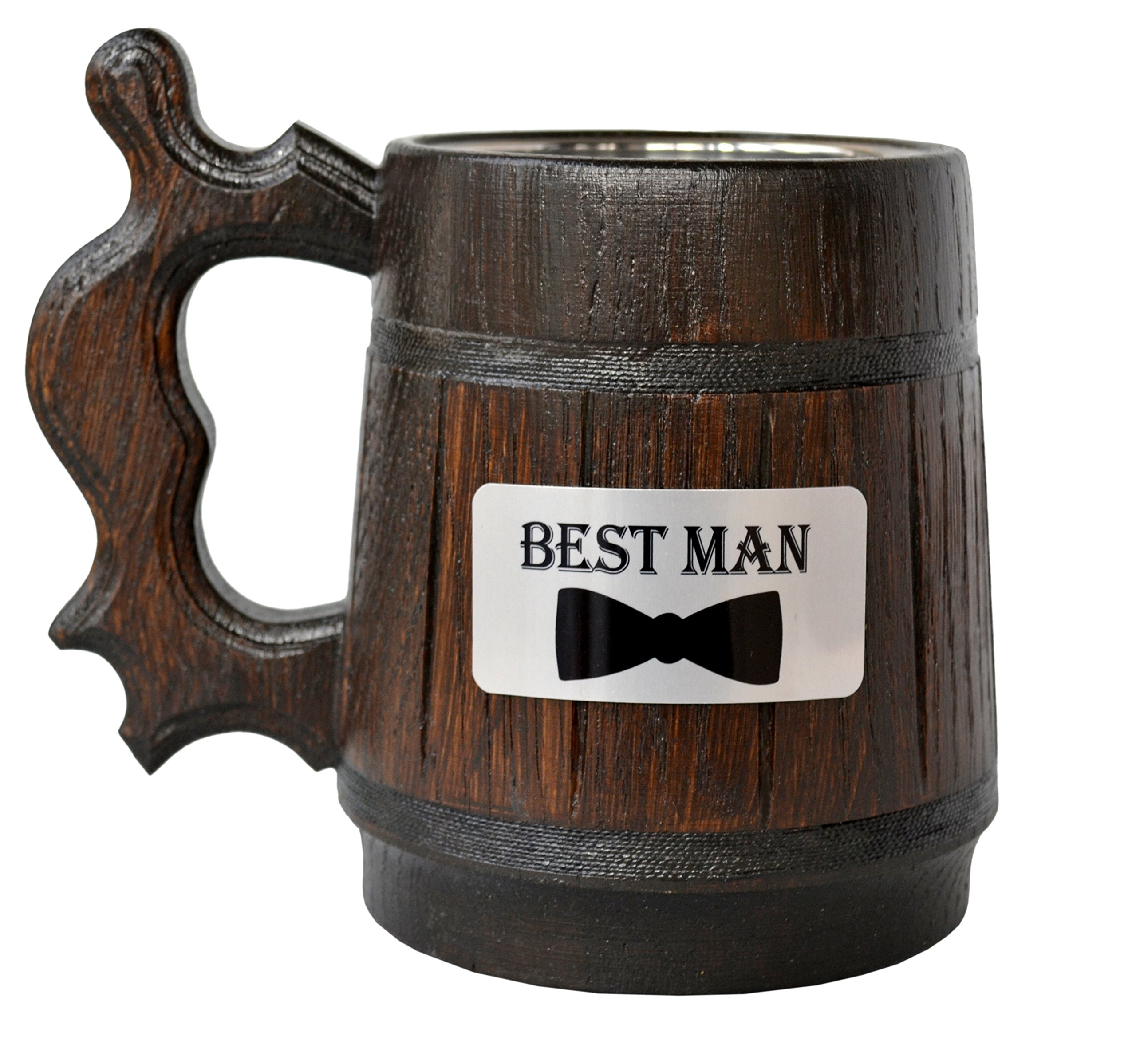 Handmade Best Man - Wood Beer - Mug NON-PERSONALIZED 0.6L 20oz Natural Stainless Steel - Cup Men - Eco-Friendly Wooden Tankard Souvenir Retro Brown