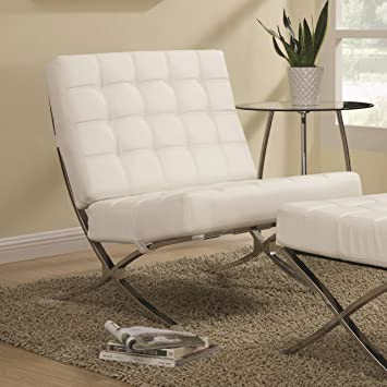 Amazon Com Coaster Home Furnishings Modern Barcelona Chair White Lounge Leatherette Accent Furniture Decor