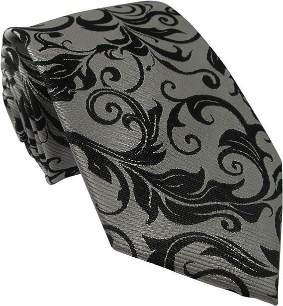 Oliver Bainbridge Corbata de seda plateada con diseño floral negro ...