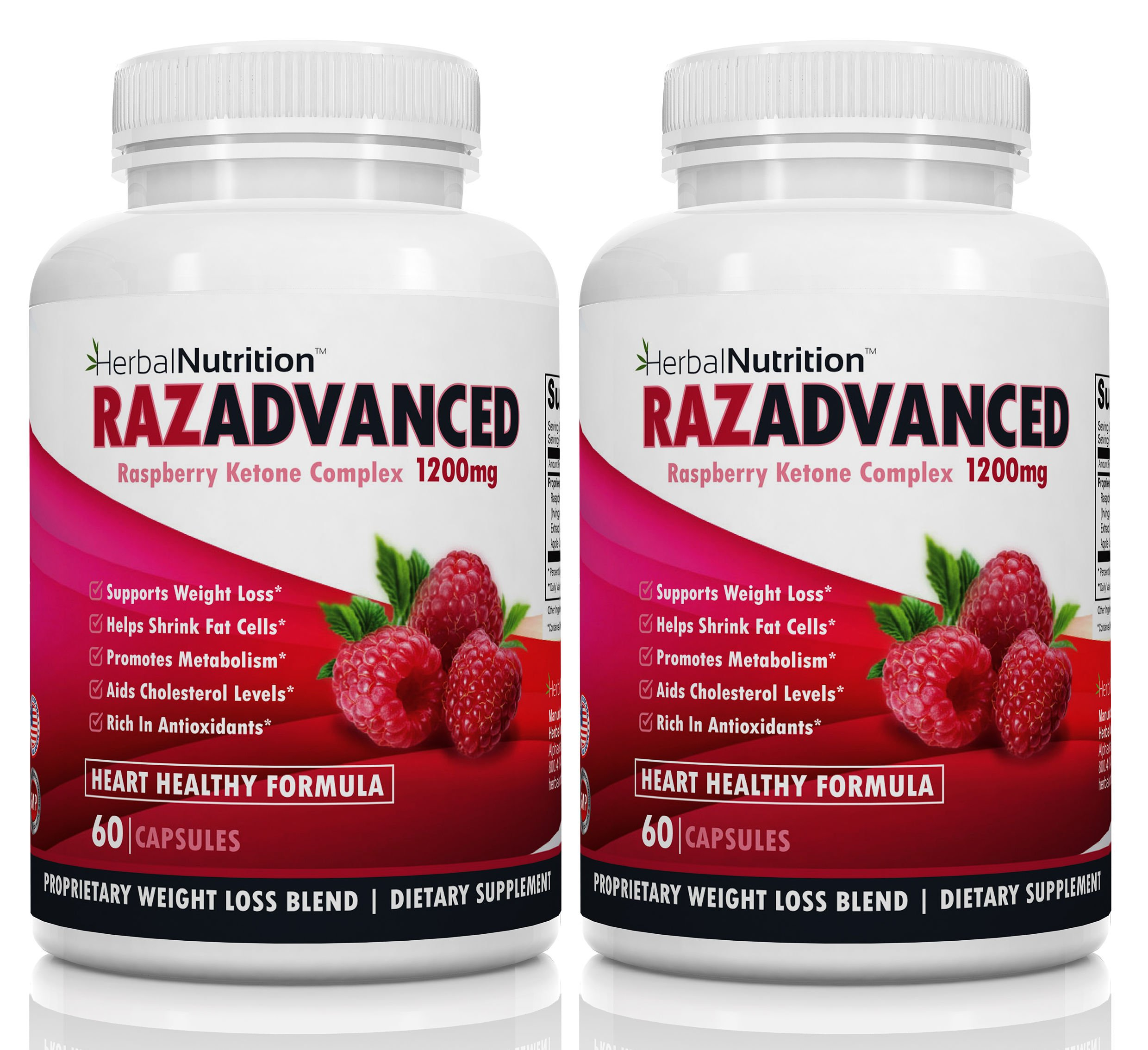 BOGO Razadvanced Raspberry Ketones Weight Loss Complex, 2 Bottle Pack, 120 Capsules, 1200mg Per Serving, Helps Burn Fat and Suppress Appetite, All-Natural Super Antioxidants, Ketones, Ships Free