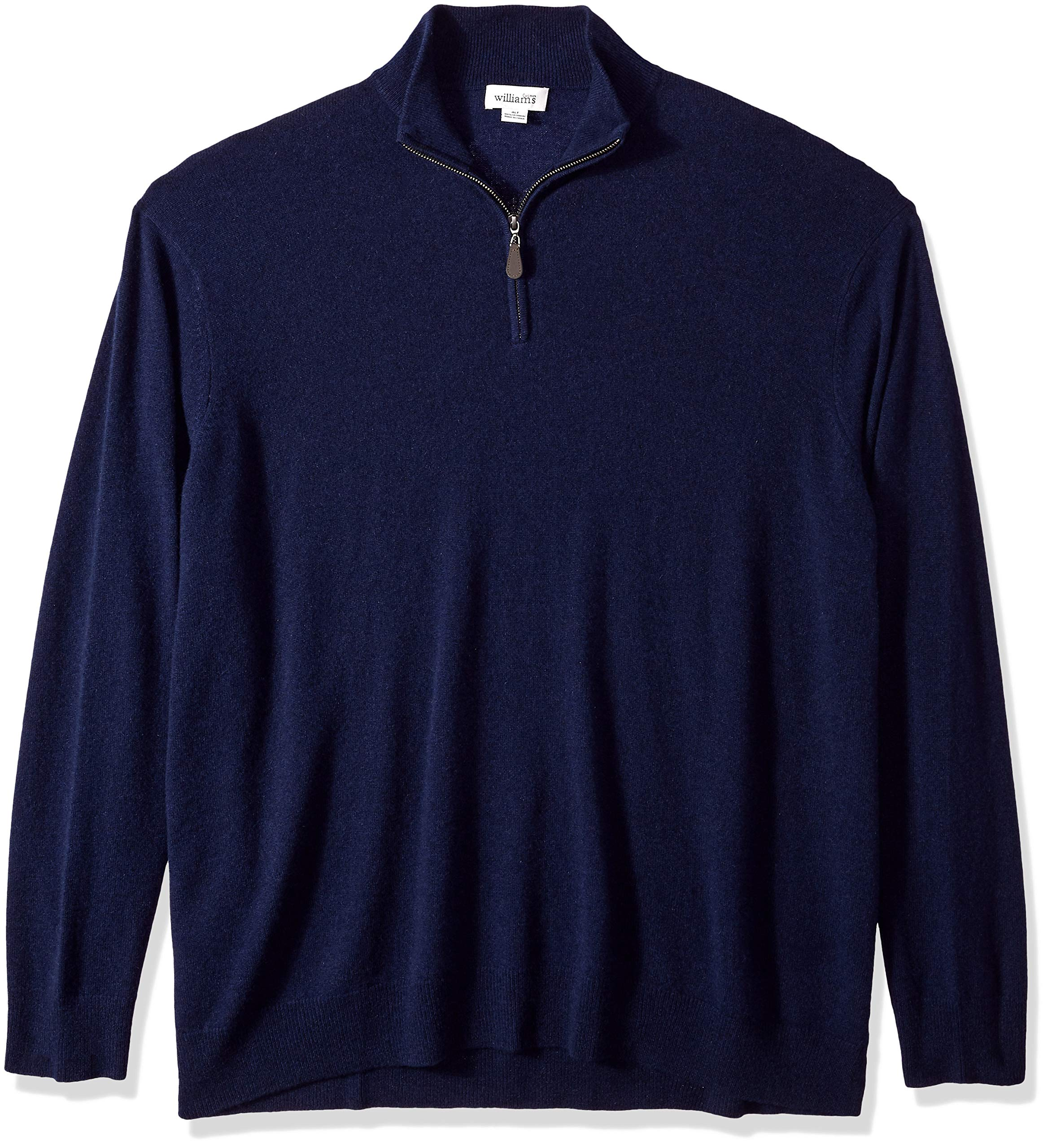 Williams Cashmere Men's Big and Tall 100% Cashmere Mock Neck Pullover Haff Zip Sweater, Navy, XT