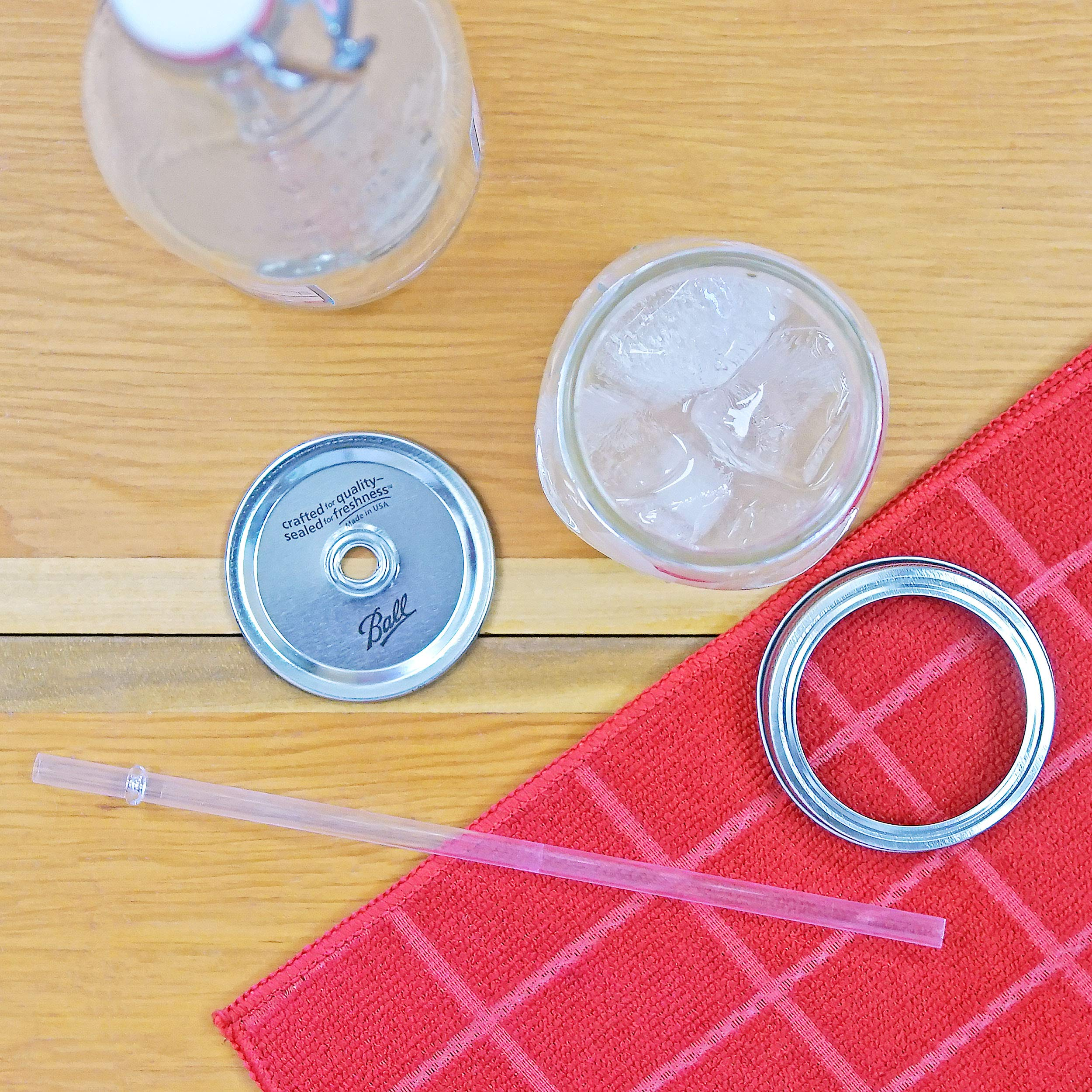 Ball RNWG-SIP-16OZ-2PK Sipper Set a 16oz Mason Jar + Sippin' Lid + Acrylic Straw Reusable Novelty Cocktail Glasses Shabby Chic, 2 Pack Clear by Ball (Image #4)