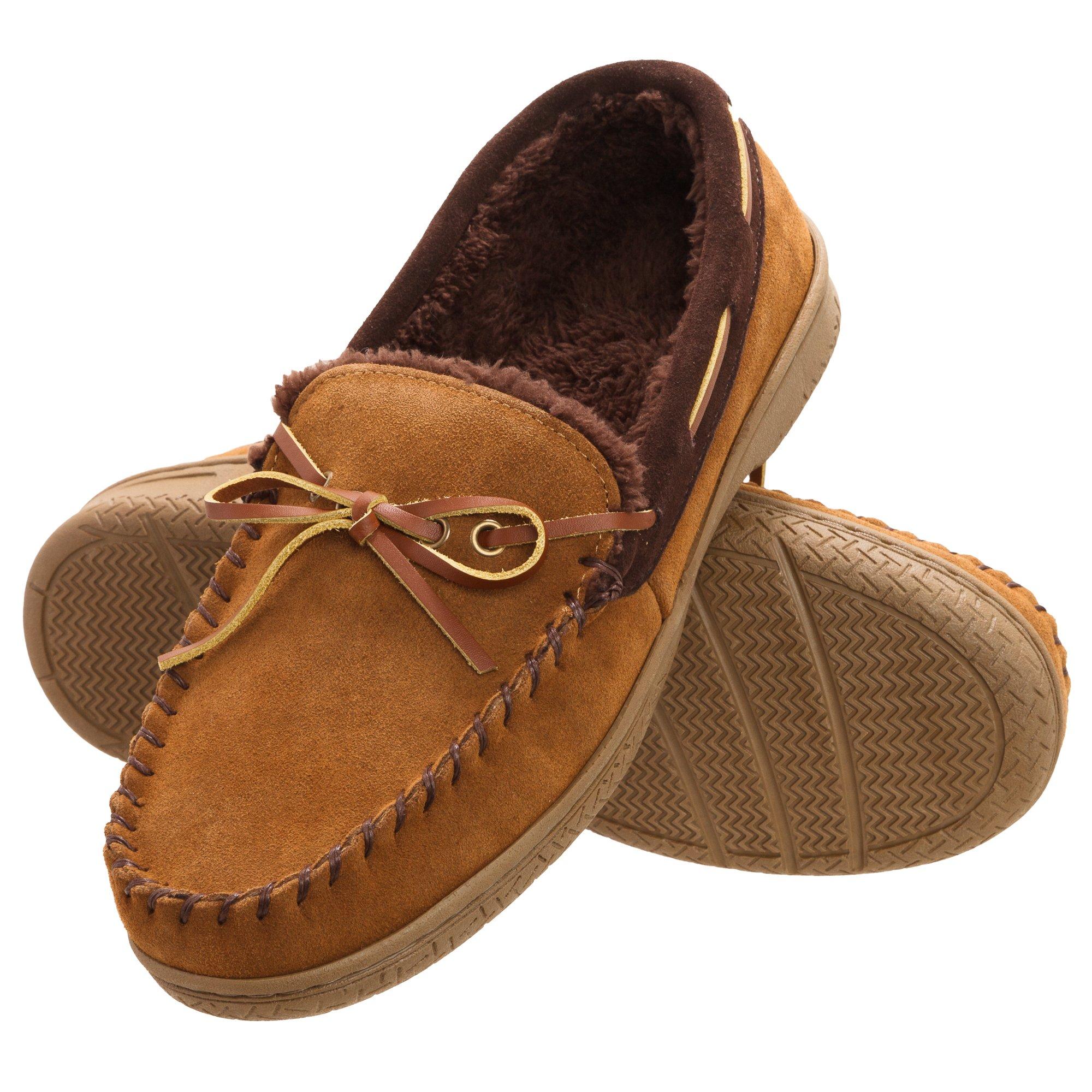 Heat Edge Mens Memory Foam Suede Slip on Indoor/Outdoor Moccasin Slipper Shoe (11, Tan)