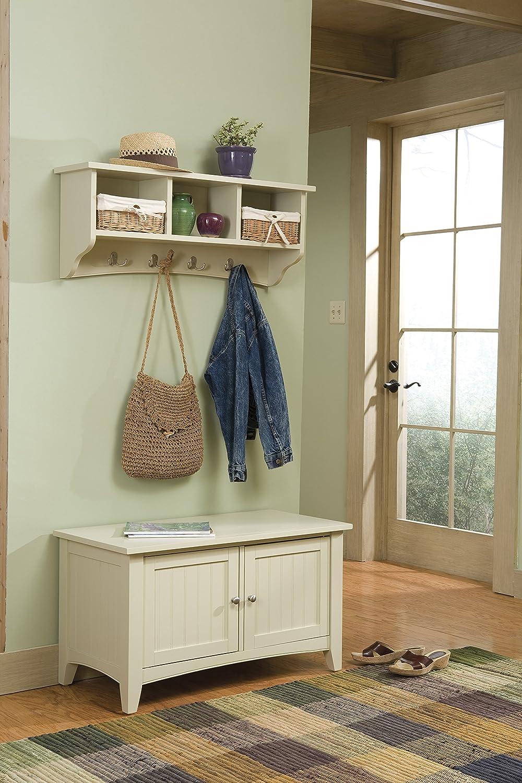 Alaterre ASCA0405SA Shaker Cottage Storage Bench and Coat Hook Set Sand Bolton Furniture