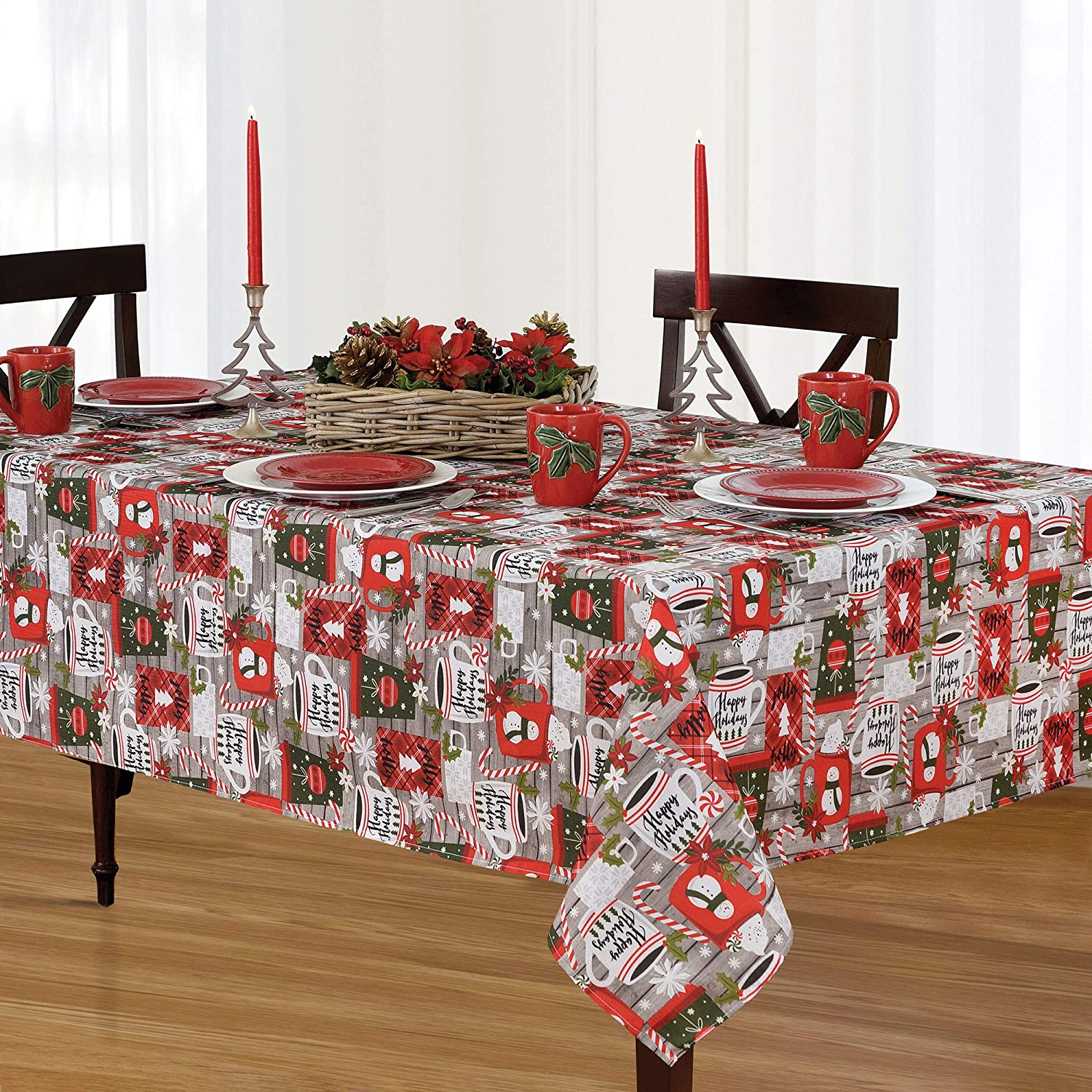 Elrene Home Fashions Jolly Cocoa and Candy Cane Holiday Christmas Fabric Round Tablecloth, 70