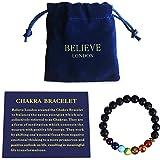 Believe London Chakra Pulsera con Bolsa de joyería y Tarjeta significativa. Pulsera Ajustable para Adaptarse a Cualquier muñeca y 7 Chakras de Piedra Natural