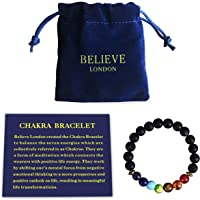 Believe London Chakra Bracelet With Jewellery Bag & Meaning Card | Adjustable Bracelet To Fit Any Wrist | 7 Chakra Natural Stone | Healing Reiki Yoga