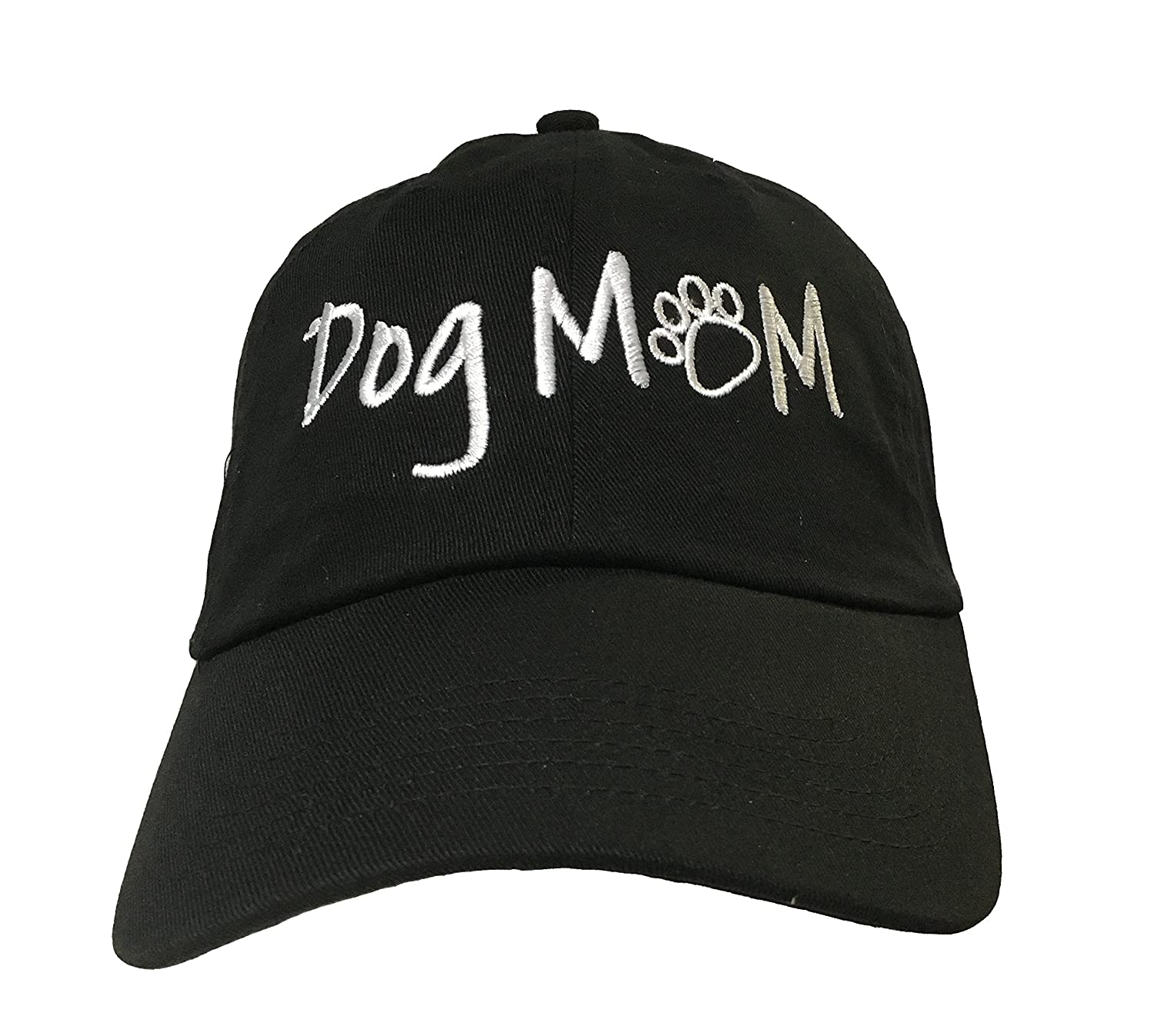 Amazon.com  Dog Mom (with paw) - Black Embroidered Ball Cap  Clothing 362cbf0a28eb